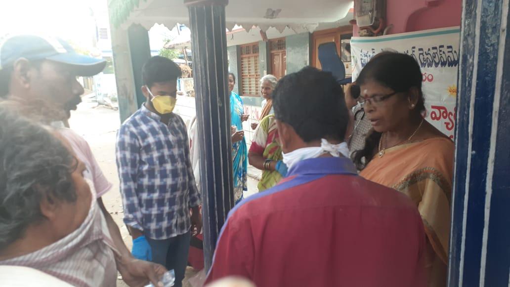 Coronavirus preventive medicine distributed by UARDT at Ramanaiah Peta, Kapula Ramalayam, Kakinada Rural Mandal on 21-March-2020