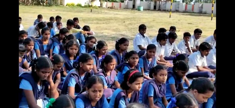 Coronavirus preventive medicine distributed by UARDT at Zilla Parishad High School, Manchili on 10-March-2020