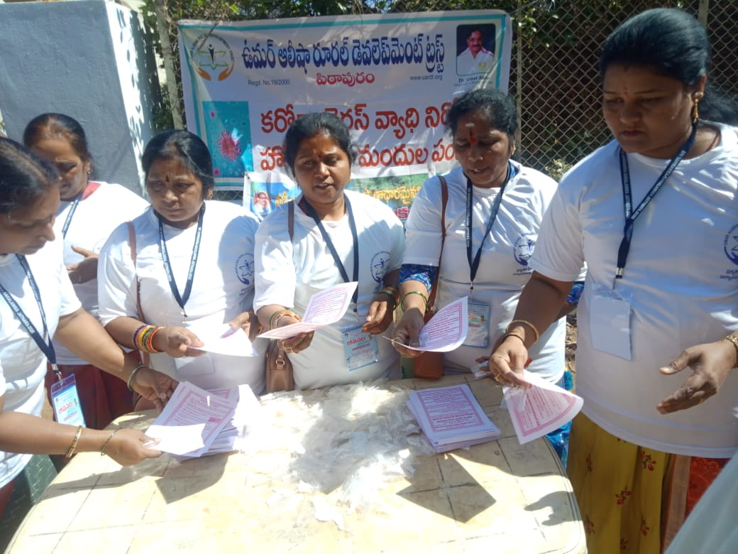 Coronavirus preventive medicine distributed by UARDT in Association with Jeevanadi Foundation at Srisailam on 21st,22nd and 23rd Feb 2020