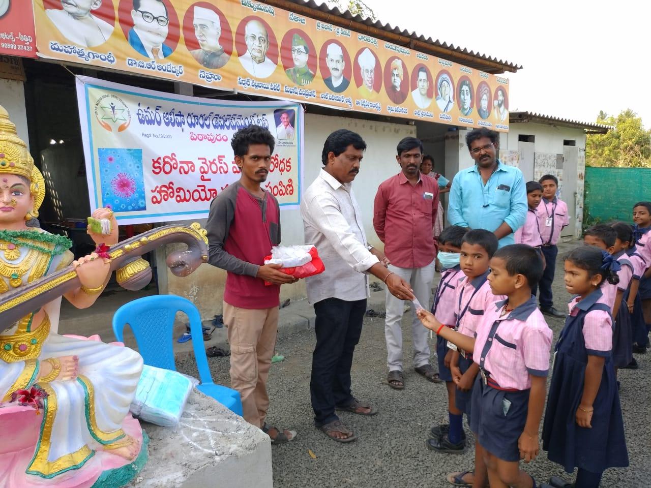 Coronavirus preventive medicine distributed by UARDT at Gowthami English Medium School, Ramachandrapuram on 09-March-2020