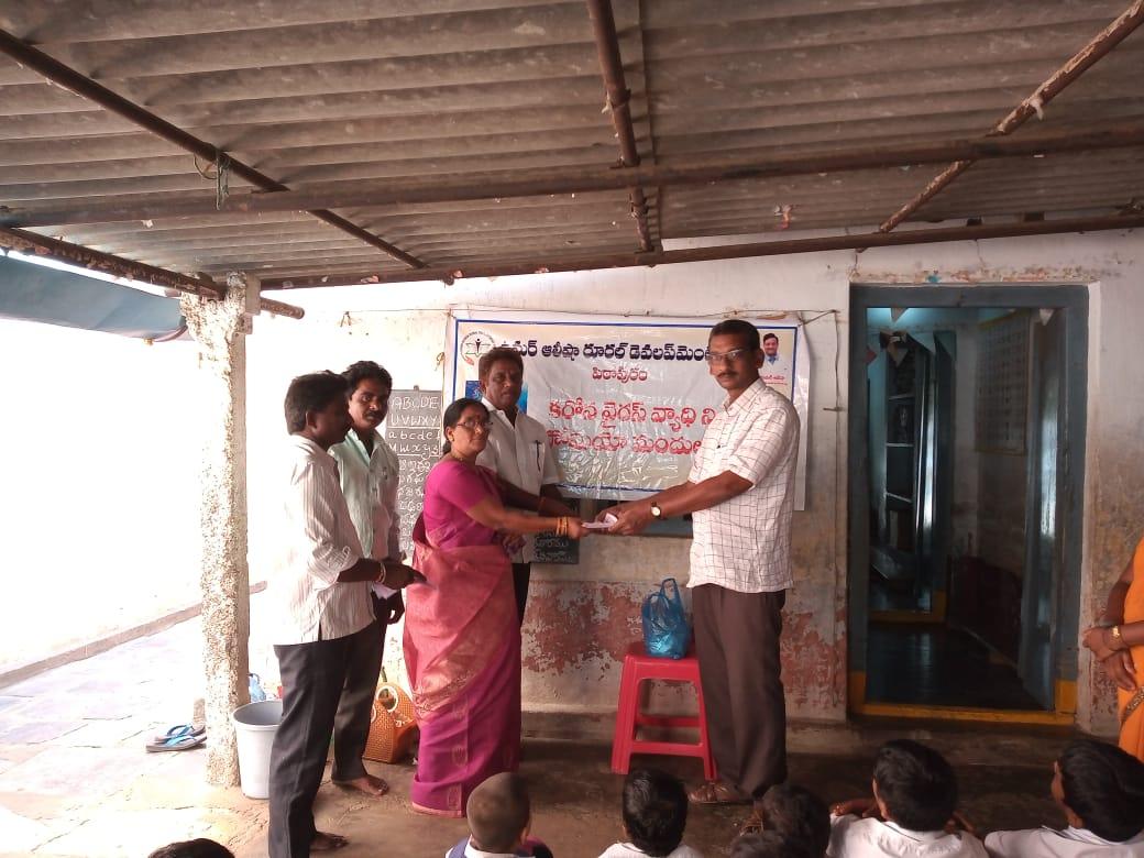 Coronavirus preventive medicine distributed by UARDT at Siddhartha School, Manchili Village on 10-March-2020