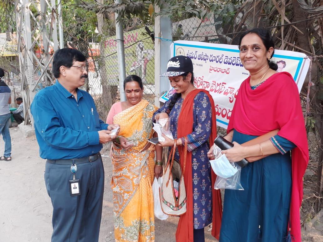 Coronavirus preventive medicine distributed by UARDT at Ramalayam, Opposite Jayabheri Towers, Kondapur, Hyderabad on 14-March-2020