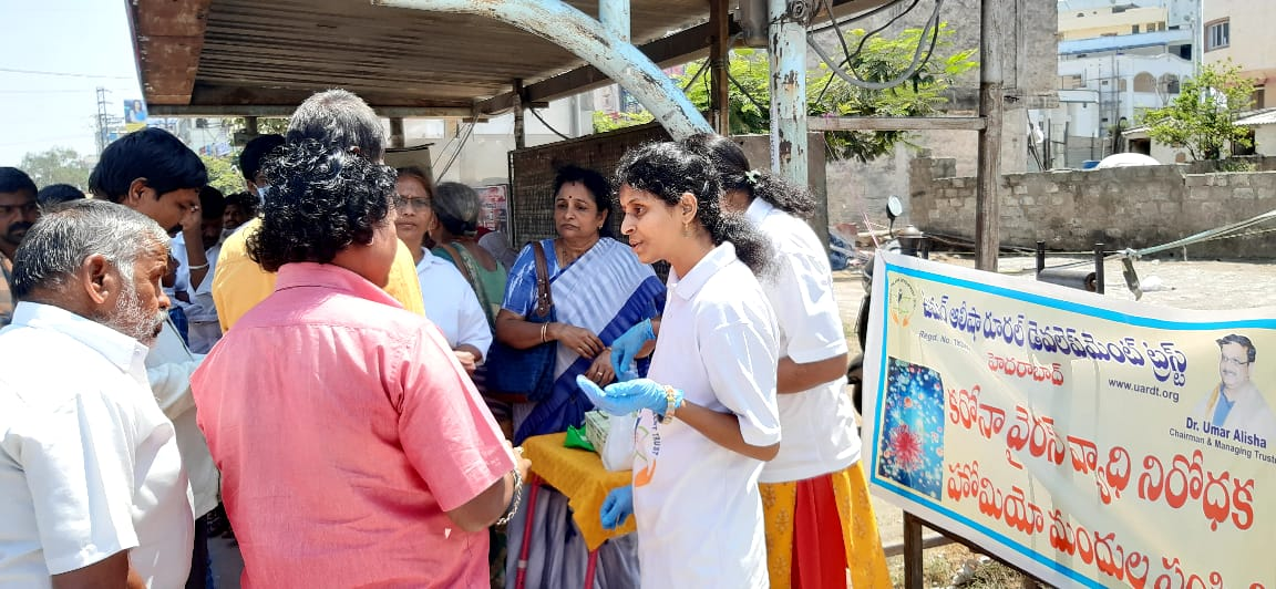 Coronavirus preventive medicine distributed by UARDT at Vanasthalipuram, Hyderabad on 15-March-2020