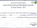 Certificate from Sri N.Chandra Babu Naidu, Honorable Chief minster of Andhra Pradesh.